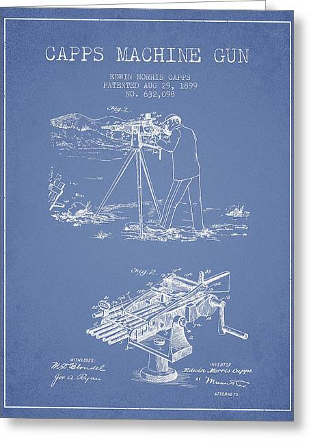 Machine Digital Art Greeting Cards - Capps Machine Gun Patent Drawing from 1899 - Light Blue Greeting Card by Aged Pixel