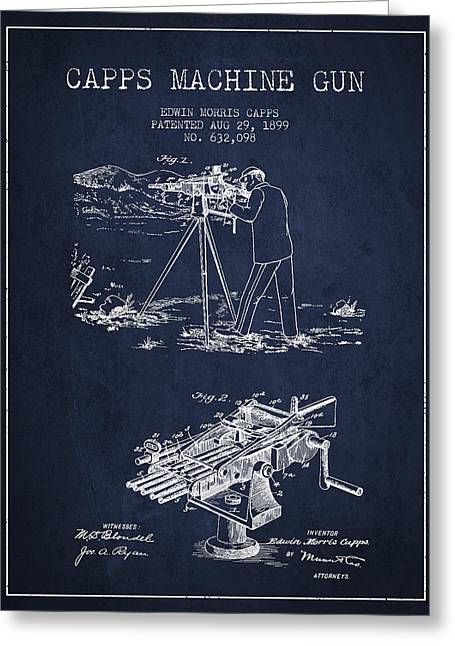 Machine Greeting Cards - Capps Machine Gun Patent Drawing from 1899 - Navy Blue Greeting Card by Aged Pixel
