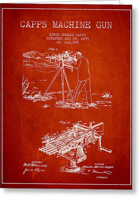 Machine Greeting Cards - Capps Machine Gun Patent Drawing from 1899 - Red Greeting Card by Aged Pixel