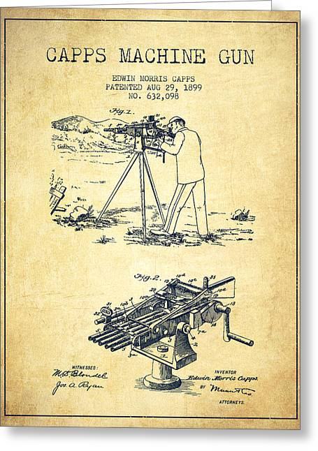 Machine Digital Art Greeting Cards - Capps Machine Gun Patent Drawing from 1899 - Vintage Greeting Card by Aged Pixel