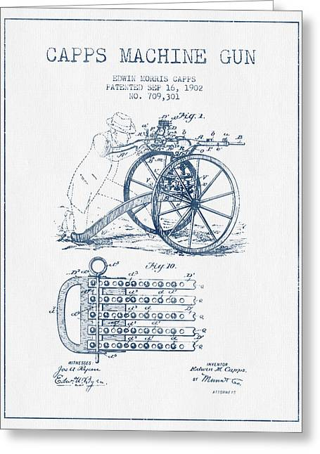 Pistol Drawings Greeting Cards - Capps Machine Gun Patent Drawing from 1902 -  Blue Ink Greeting Card by Aged Pixel