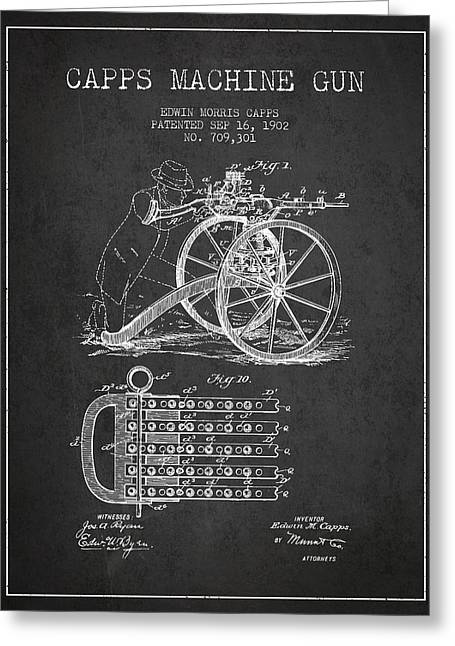 Machine Greeting Cards - Capps Machine Gun Patent Drawing from 1902 - Dark Greeting Card by Aged Pixel