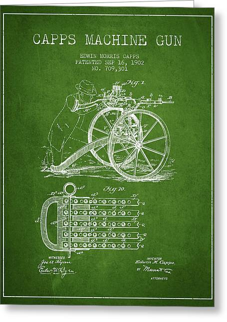 Bass Digital Art Greeting Cards - Capps Machine Gun Patent Drawing from 1902 - Green Greeting Card by Aged Pixel