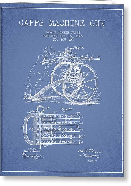 Machine Greeting Cards - Capps Machine Gun Patent Drawing from 1902 - Light Blue Greeting Card by Aged Pixel