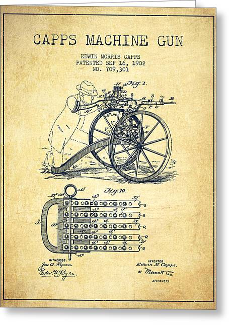 Bass Digital Art Greeting Cards - Capps Machine Gun Patent Drawing from 1902 - Vintage Greeting Card by Aged Pixel