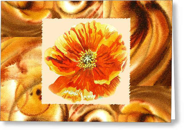 Poppies Art Gift Greeting Cards - Cappuccino Abstract Collage Poppy Greeting Card by Irina Sztukowski
