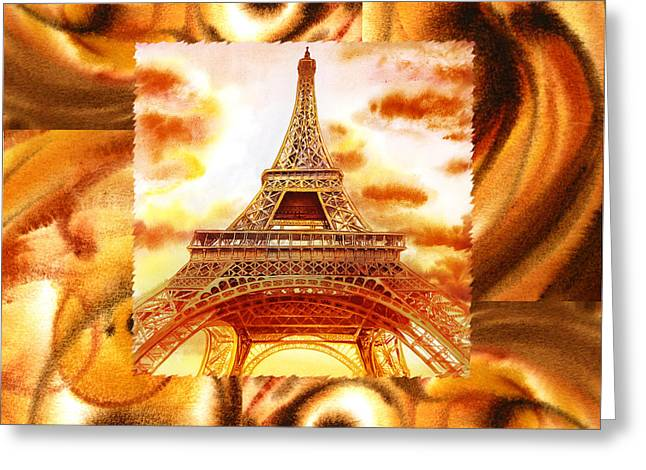 Cappuccino Greeting Cards - Cappuccino In Paris Abstract Collage Eiffel Tower Greeting Card by Irina Sztukowski