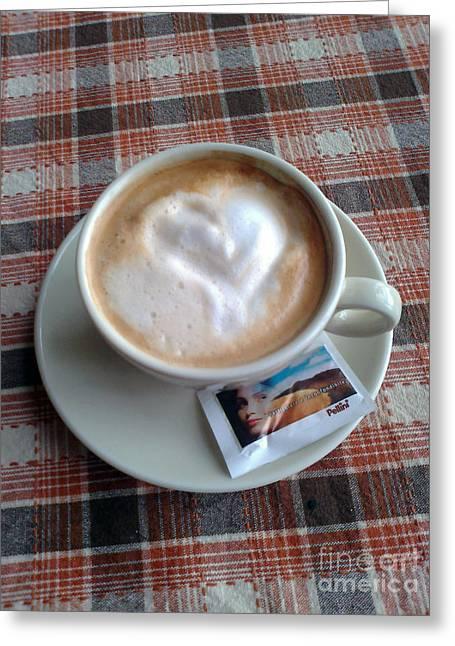 Cappuccino Love Greeting Card by Ausra Huntington nee Paulauskaite