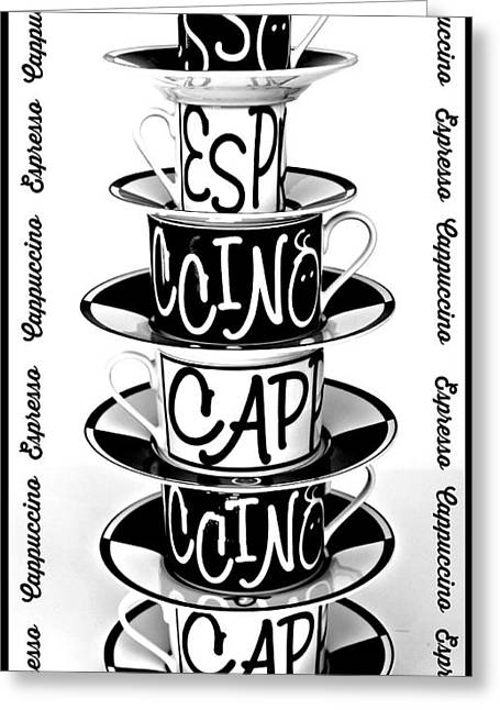 Clever Digital Greeting Cards - Cappuccino or Espresso Greeting Card by Clare Bevan