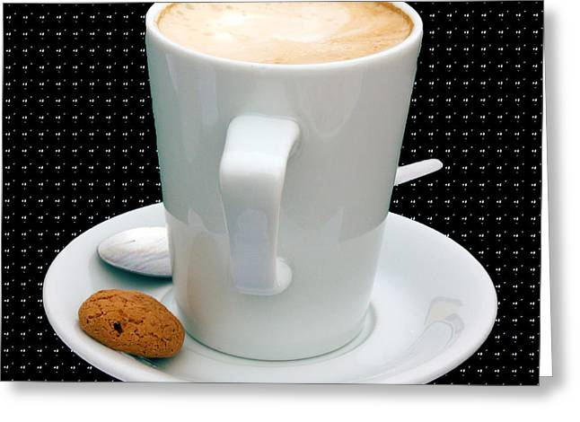 Cappuccino With An Amaretti Biscuit Greeting Card by Terri Waters