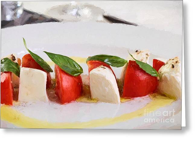Italian Meal Digital Greeting Cards - Caprese Mozzarella and tomatoes Greeting Card by Roberto Giobbi