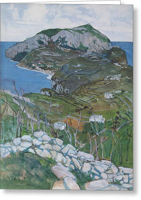 Italian Landscapes Drawings Greeting Cards - Capri, C.1904 Greeting Card by Maurice Greiffenhagen