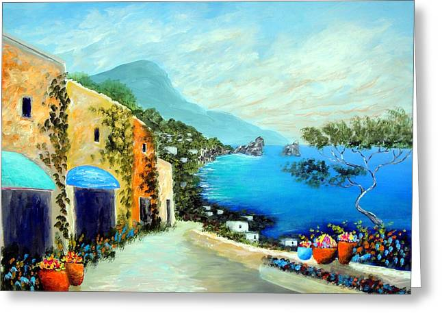 Portofino Italy Art Greeting Cards - Capri Fantasies Greeting Card by Larry Cirigliano