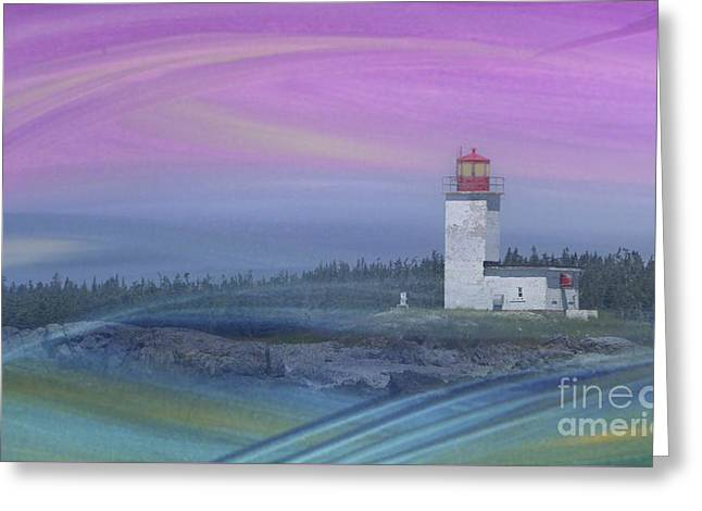 Bay Of Fundy Greeting Cards - Capricious Lighthouse... Greeting Card by Nina Stavlund