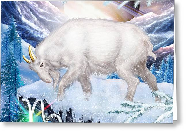 Goat Digital Greeting Cards - Capricorn Greeting Card by Ciro Marchetti