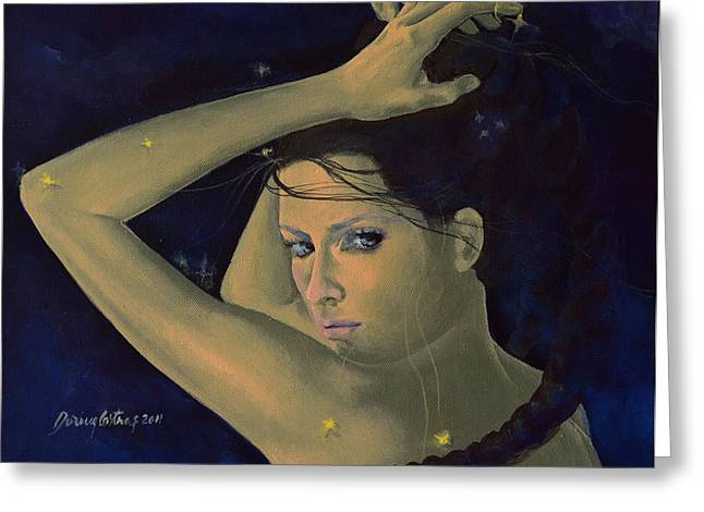 Constellations Paintings Greeting Cards - Capricorn from Zodiac series Greeting Card by Dorina  Costras