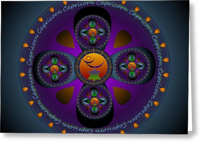 Metaphysics Greeting Cards - Capricorn Mandala Greeting Card by Sarah  Niebank
