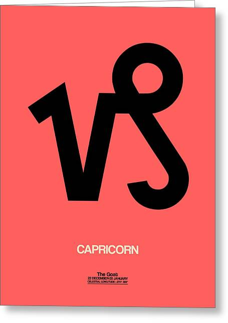 Capricorn Zodiac Sign Black Greeting Card by Naxart Studio