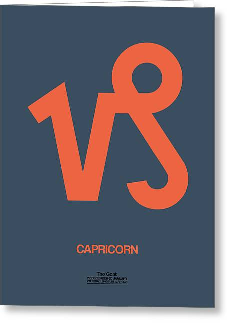 Signed Digital Greeting Cards - Capricorn Zodiac Sign Orange Greeting Card by Naxart Studio