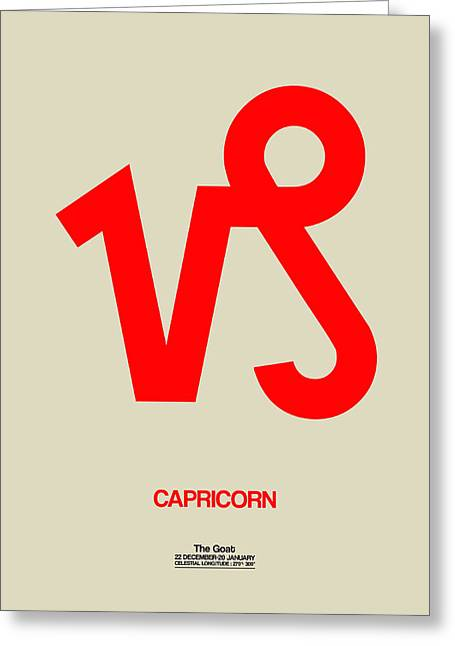 Zodiac. Greeting Cards - Capricorn Zodiac Sign Red Greeting Card by Naxart Studio
