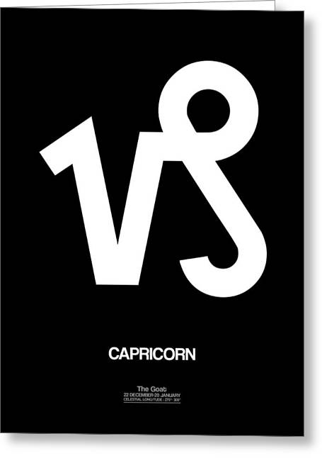 Capricorn Zodiac Sign White Greeting Card by Naxart Studio