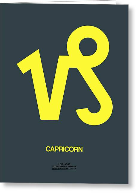 Zodiac. Greeting Cards - Capricorn Zodiac Sign Yellow Greeting Card by Naxart Studio