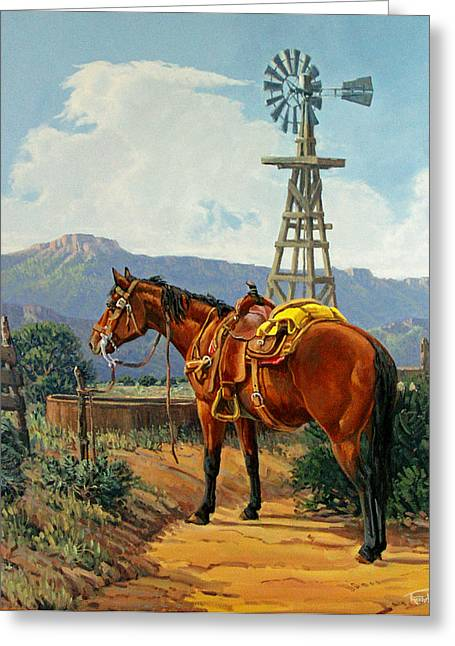 Arizona Cowboy Greeting Cards - Caprock Windmill Greeting Card by Randy Follis