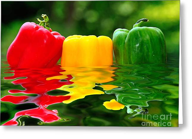 Healthy Greeting Cards - Capsicum Afloat Greeting Card by Kaye Menner
