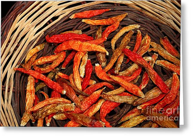 Chilies Greeting Cards - Capsicum annuum Chilis in Basket Greeting Card by James Brunker