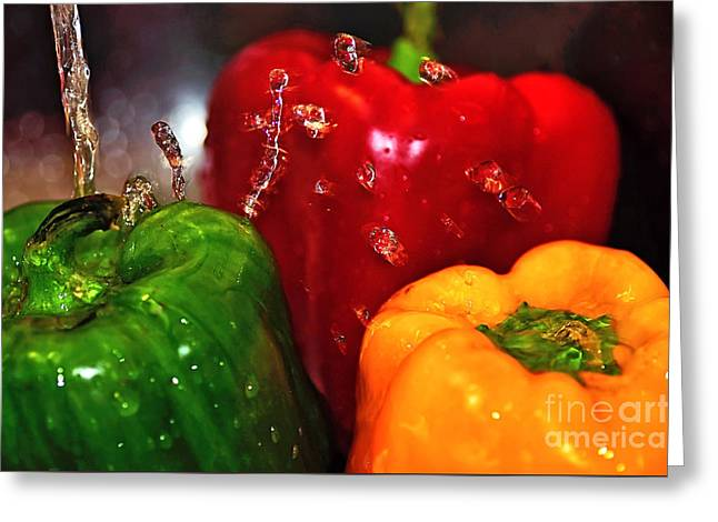 Capsicum In The Wash Greeting Card by Kaye Menner