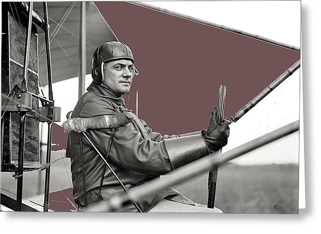 Ewing Greeting Cards - Capt. F.B. Hennessy Curtiss plane Harris and Ewing College Park Maryland 1912-2013 Greeting Card by David Lee Guss
