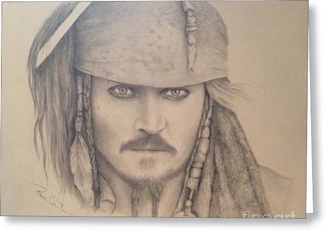 Pirate Ships Drawings Greeting Cards - Capt. Jack Sparrow Greeting Card by Ron Cartier