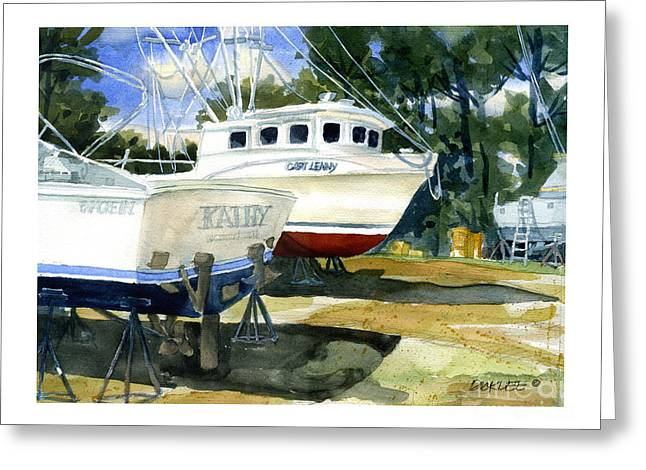 Fishing Boats Greeting Cards - Capt. Lenny Trawler Greeting Card by Dick Dee
