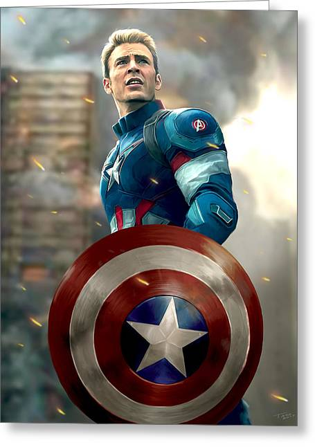 Avengers Greeting Cards - Captain America - No Helmet Greeting Card by Paul Tagliamonte
