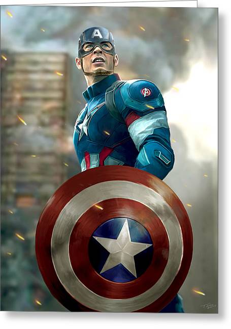Captain America Paintings Greeting Cards - Captain America - with Helmet Greeting Card by Paul Tagliamonte