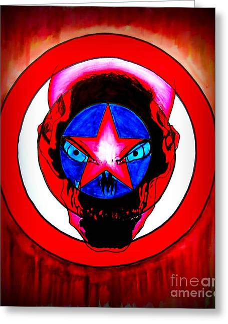 Pen And Ink Drawing Greeting Cards - Captain America and Red Skull Rust Greeting Card by Justin Moore