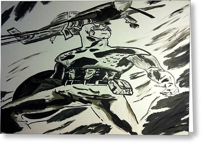 Captain America Paintings Greeting Cards - Captain America Black and White Greeting Card by Brandy Slone