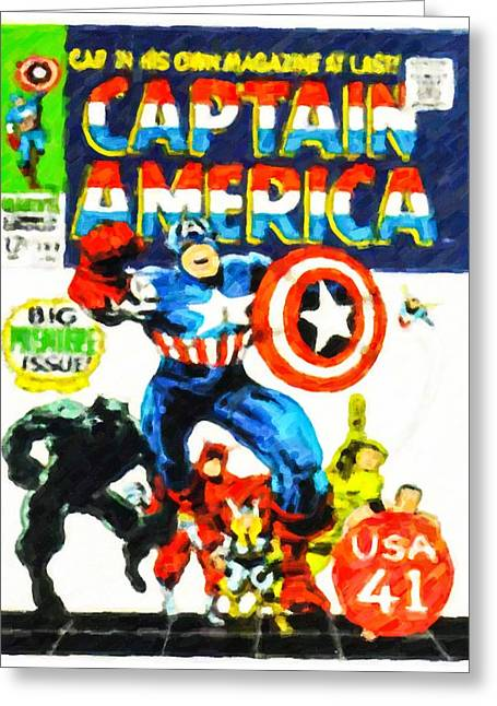Captain America Paintings Greeting Cards - Captain America comic book cover Greeting Card by Lanjee Chee