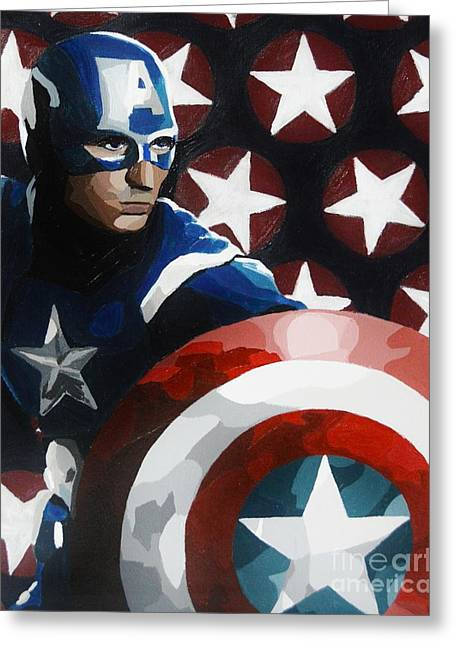 Captain America Paintings Greeting Cards - Captain America Greeting Card by Ellen Nicole Allen