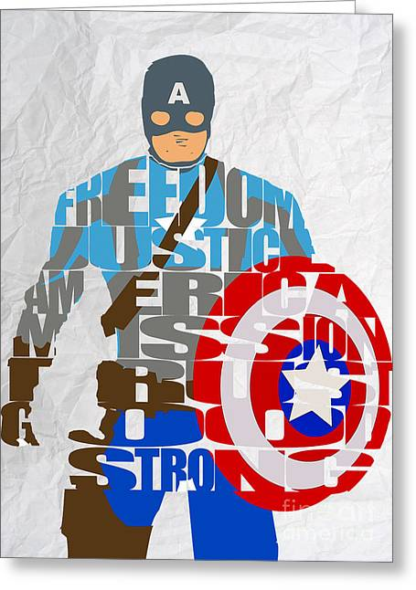 Captain America Greeting Cards - Captain America Inspirational Power and Strength Through Words Greeting Card by Marvin Blaine