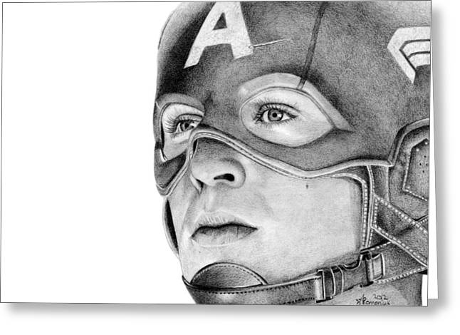 Straps Drawings Greeting Cards - Captain America Greeting Card by Kayleigh Semeniuk