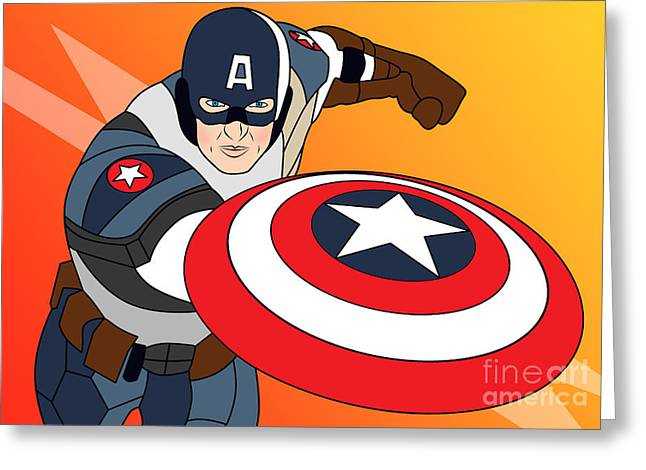 Funny Pop Culture Greeting Cards - Captain America Greeting Card by Mark Ashkenazi