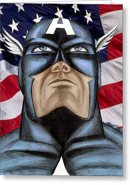 Captain America Greeting Card by Michael Mestas