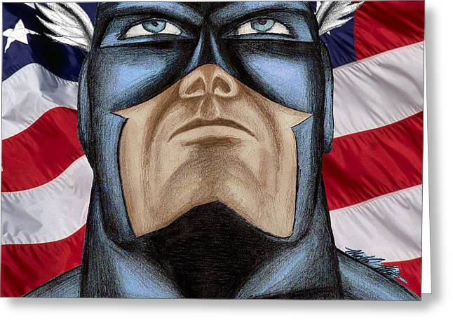 CAPTAIN AMERICA Greeting Card by Michael Mestas
