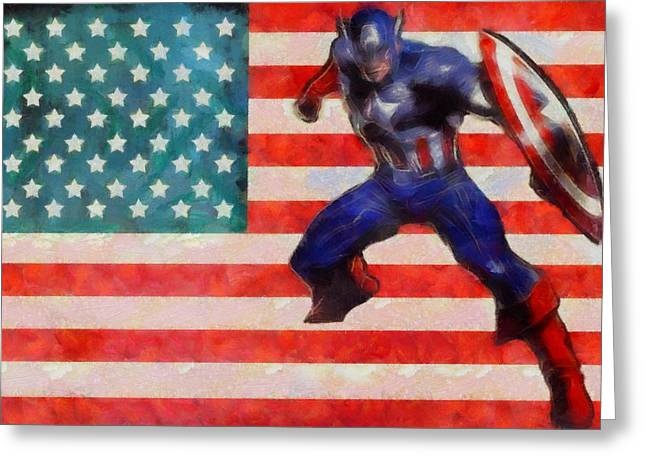 Captain America Paintings Greeting Cards - Captain America On Flag Greeting Card by Dan Sproul