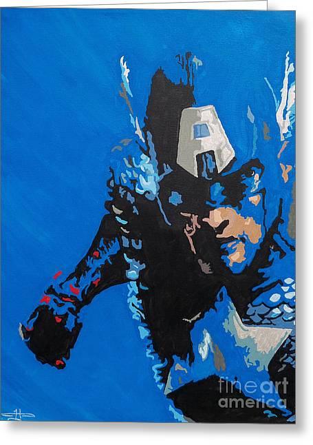 Captain America Paintings Greeting Cards - Captain America - Out of the Blue Greeting Card by Kelly Hartman
