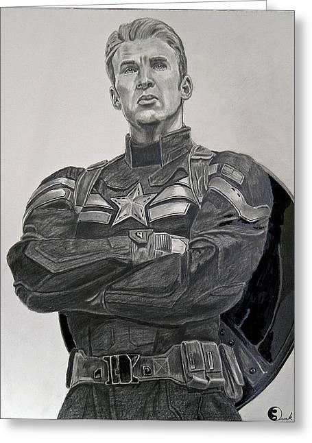 Chris Evan Greeting Cards - Captain America Greeting Card by Robert Link