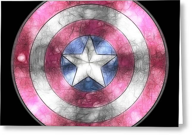 Captain America Paintings Greeting Cards - Captain America Shield digital painting Greeting Card by Georgeta Blanaru