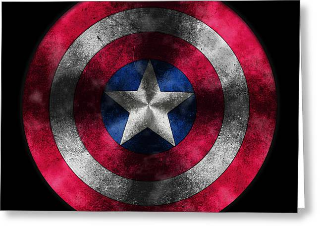 Captain America Greeting Cards - Captain America Shield Greeting Card by Georgeta Blanaru