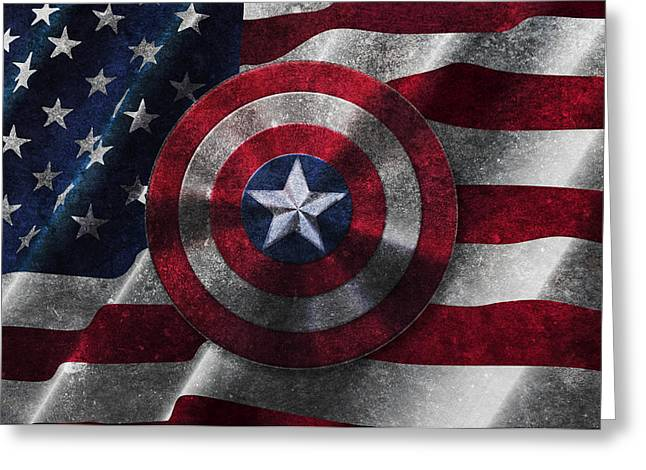 Captain America Greeting Cards - Captain America Shield on USA Flag Greeting Card by Georgeta Blanaru